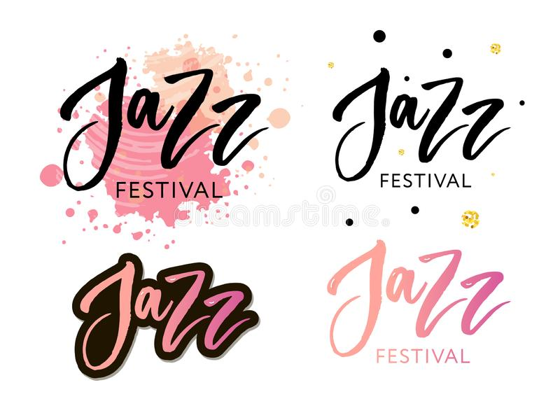Hand drawn lettering quotes about Jazz festival collections isolated on the white background. Fun brush ink vector calligraphy. Illustrations set for banners stock illustration