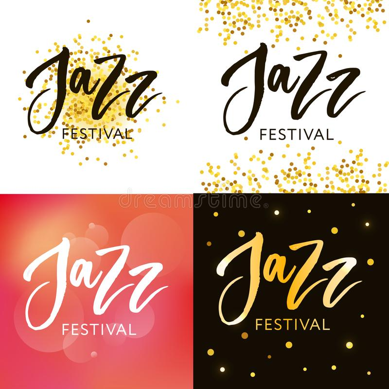 Hand drawn lettering quotes about Jazz festival collections isolated on the white background. Fun brush ink vector calligraphy. Illustrations set for banners royalty free illustration