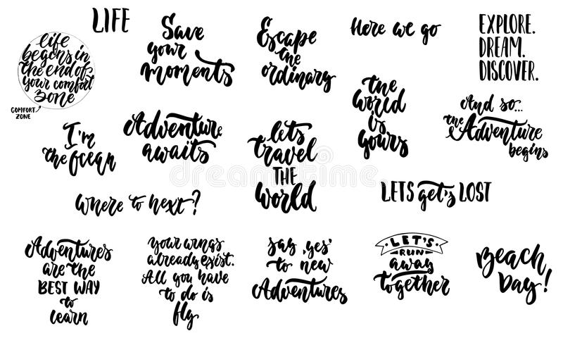 Hand drawn lettering quotes about Summer and sea collections isolated on the white background. Fun brush ink vector. Calligraphy illustrations set for banners stock illustration