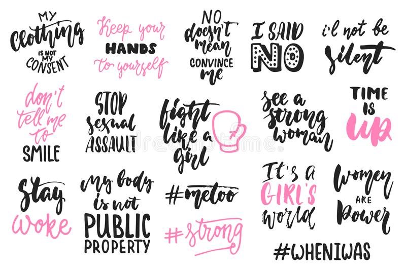 Hand drawn lettering quotes about women, feminism collections isolated on the white background. Fun brush ink vector royalty free illustration