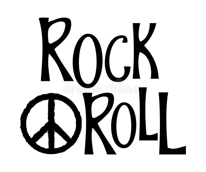 Hand drawn lettering rock and roll and hippie peace symbol. vector illustration