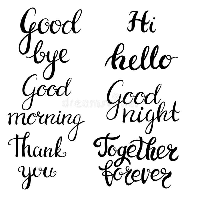 Hand drawn lettering set. Modern calligraphy. Ink illustration. Design for banner, poster, card, invitation, flyer. Brochure, t-shirt Isolated on white stock illustration