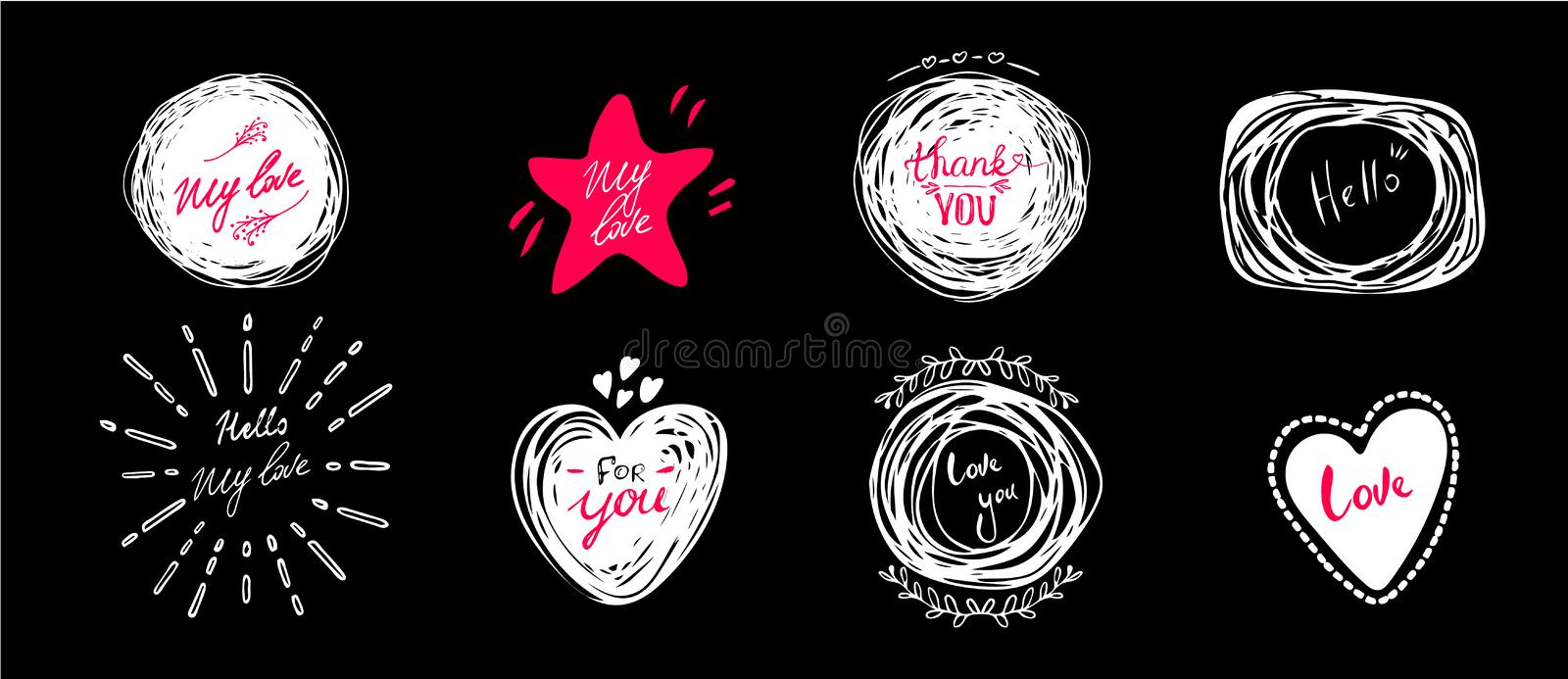 Hand drawn lettering set with romantic phrases about love. Vector inscriptions collection on black background. card with stock illustration