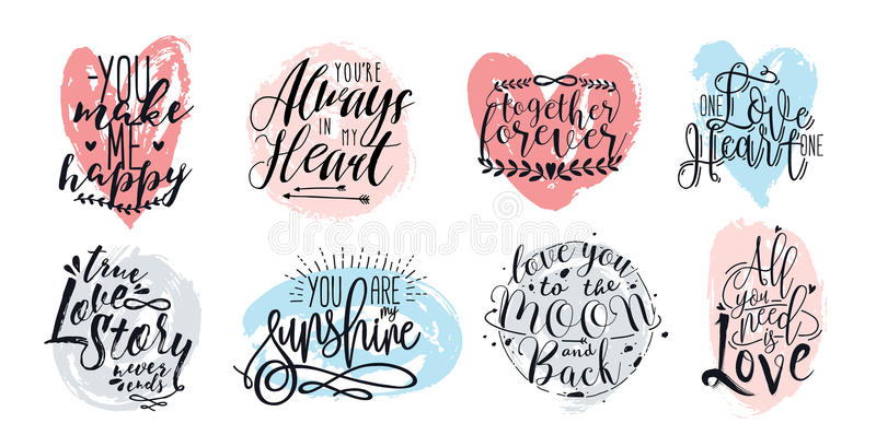 Hand drawn lettering set with romantic phrases about love. Vector inscriptions collection on white background. vector illustration