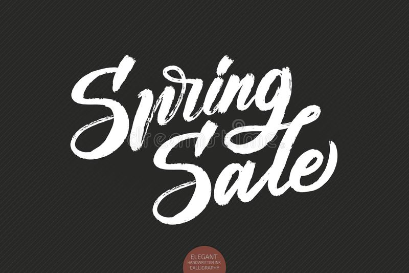 Hand drawn lettering Spring Sale. Elegant modern handwritten calligraphy. Vector Ink illustration. For business cards stock illustration