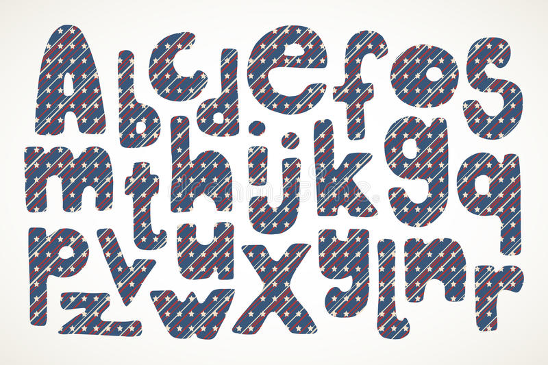 Hand drawn letters in american stars and stripes pattern royalty free illustration