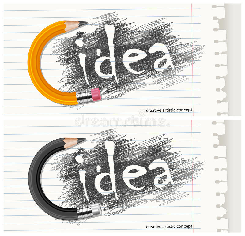 Hand drawn letters with circle pencil & text vector illustration