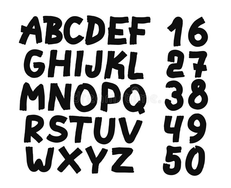 Hand drawn letters and numbers font royalty free illustration