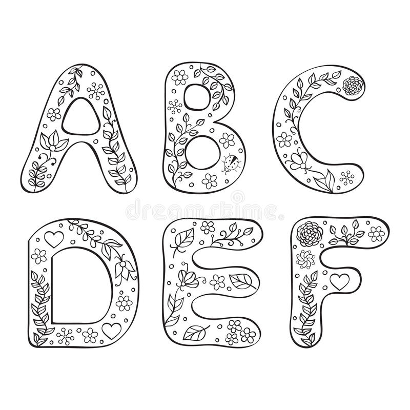 Hand drawn letters on white background vector illustration