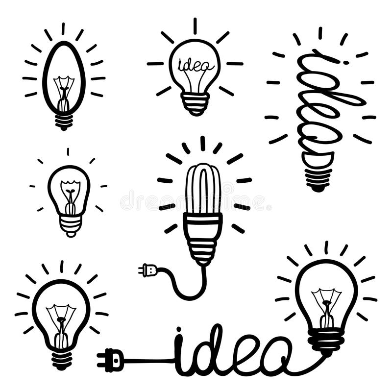 Download Hand Drawn Light Bulb Icons Stock Vector