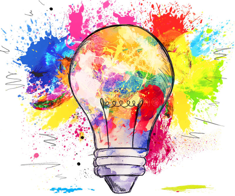 Hand-drawn light bulb over colorful blots of paint stock illustration