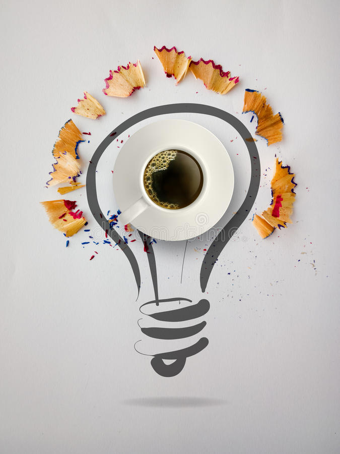 Hand drawn light bulb with pencil saw dust royalty free illustration