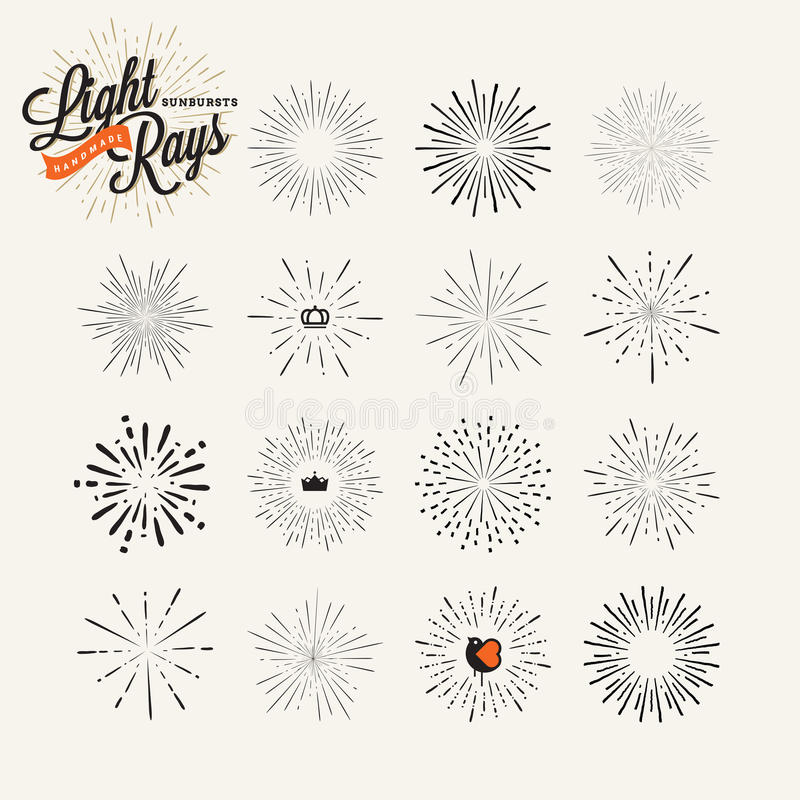 Hand drawn light rays and starburst design elements stock illustration