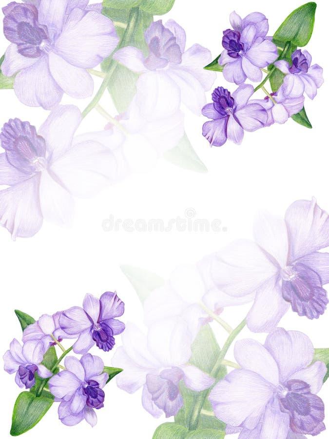 Hand-drawn lilac orchid invitation