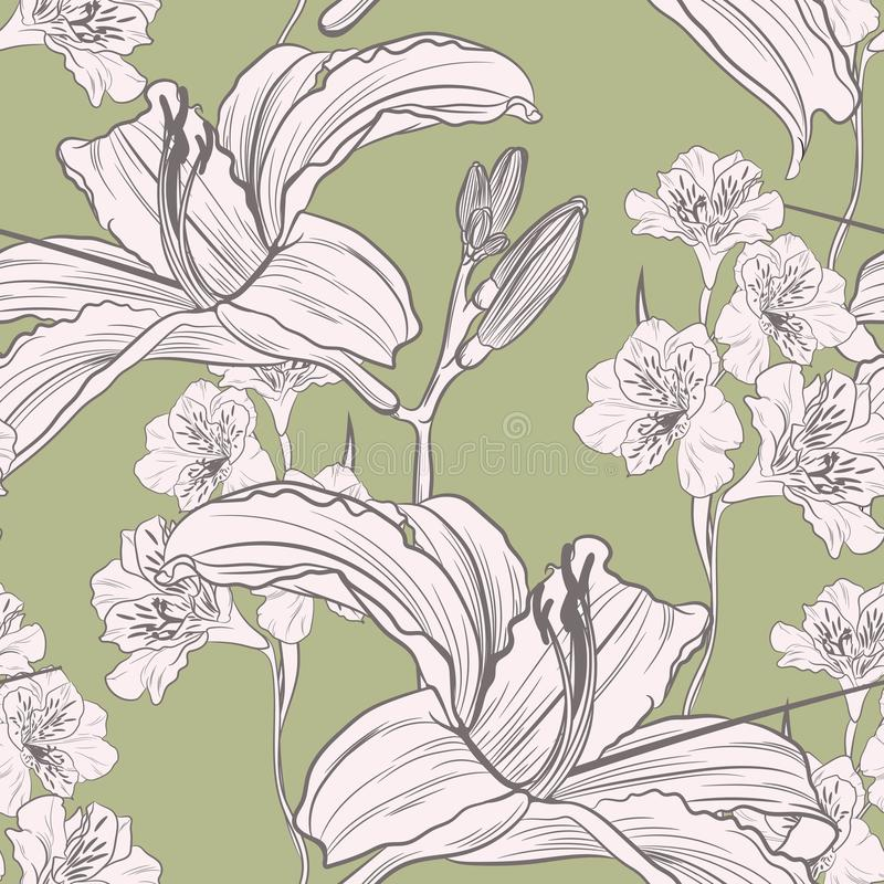 Hand drawn lilies flowers, vector seamless pattern, illustration for design, banner, poster, cover. Green background vector illustration