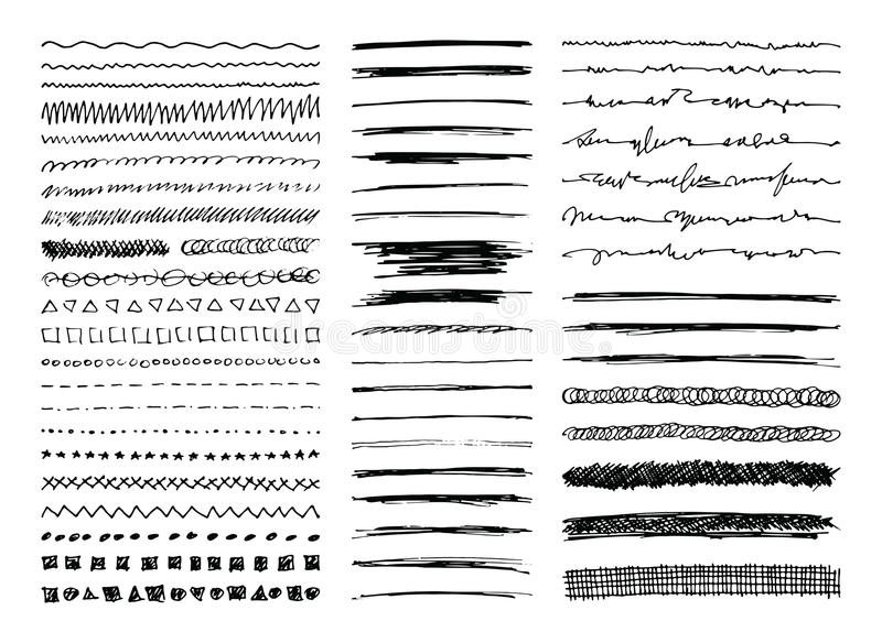 Hand Drawn Line Borders, Strokes and Scribbles vector illustration