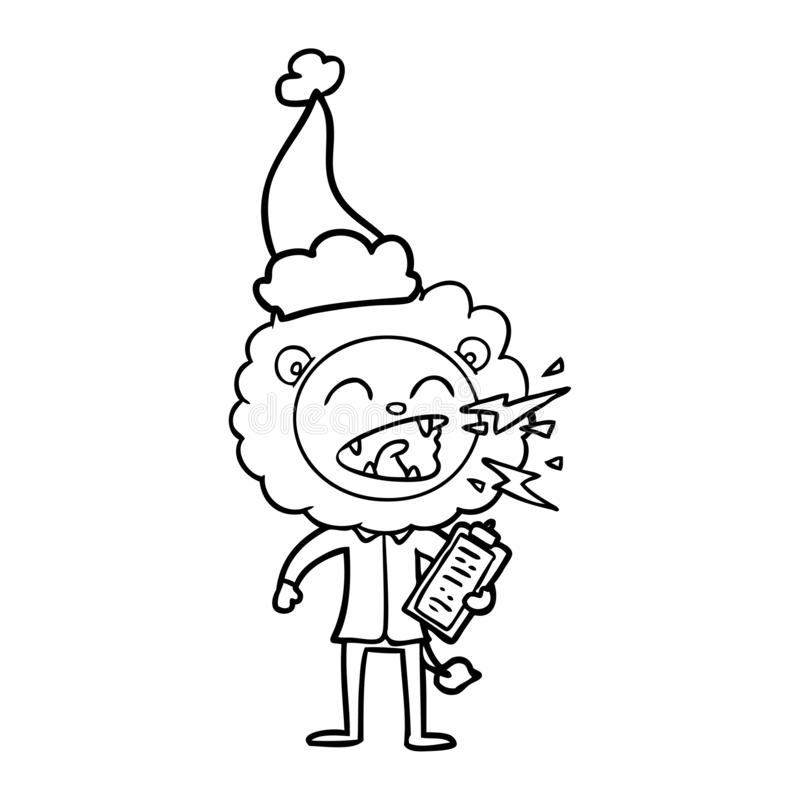 hand drawn line drawing of a roaring lion doctor wearing santa hat royalty free illustration