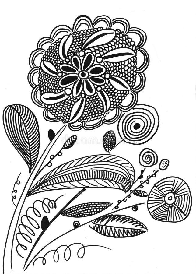 Hand drawn line flower. On paper vector illustration