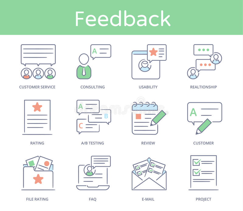 Hand drawn line style icon set : Customer service, Relationship Management, Feedback, Business elements, Solution for. Clients stock illustration