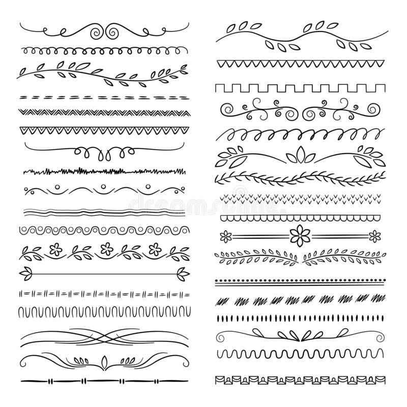 Hand drawn lines. Floral scribble ornamental web dividers wedding doodle vector decoration stock illustration