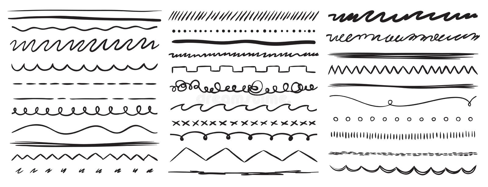 Hand drawn lines. Marker line divider, handmade pencil strokes brush and drawing dividers vector elements set vector illustration