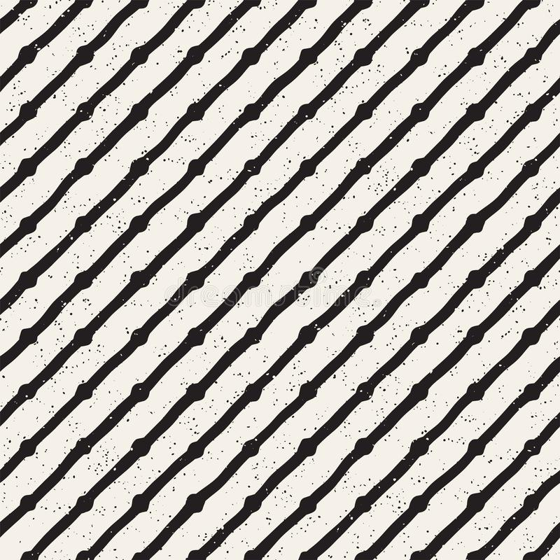Hand drawn lines seamless grungy pattern. Abstract geometric repeating texture in black and white. vector illustration