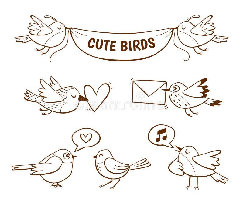 Hand drawn little bird collection vector illustration