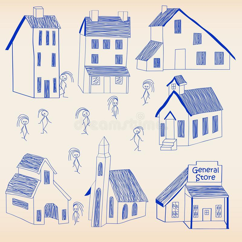 Hand Drawn Little Town Icon Set vector illustration