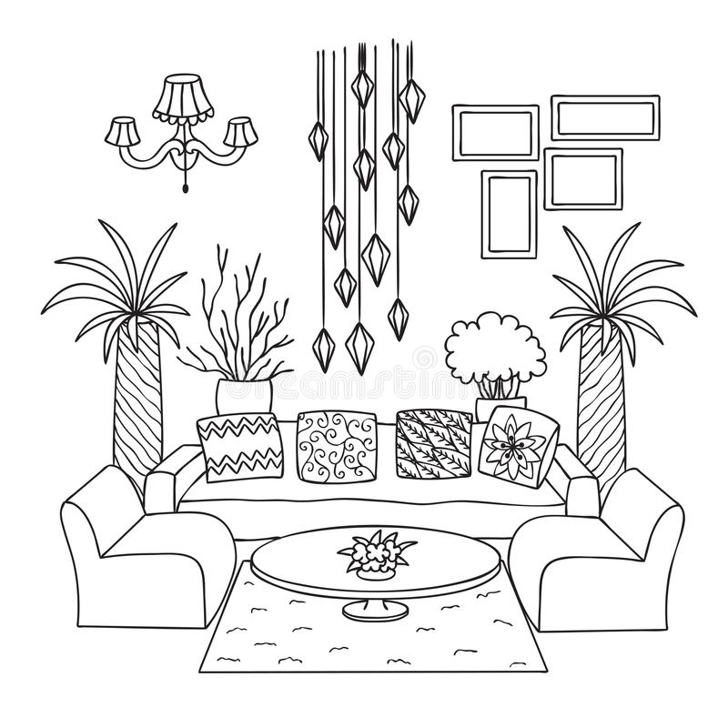 Free Hand Drawn Living Room For Design Element And Coloring Book Page. Vector Illustration Stock Photos - 113197843