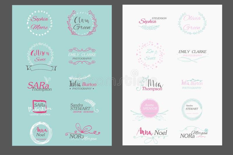 Hand drawn logo templates collection. Feminine floral logo, rustic logo. Wedding logo. Premade logo. Vector illustration stock illustration