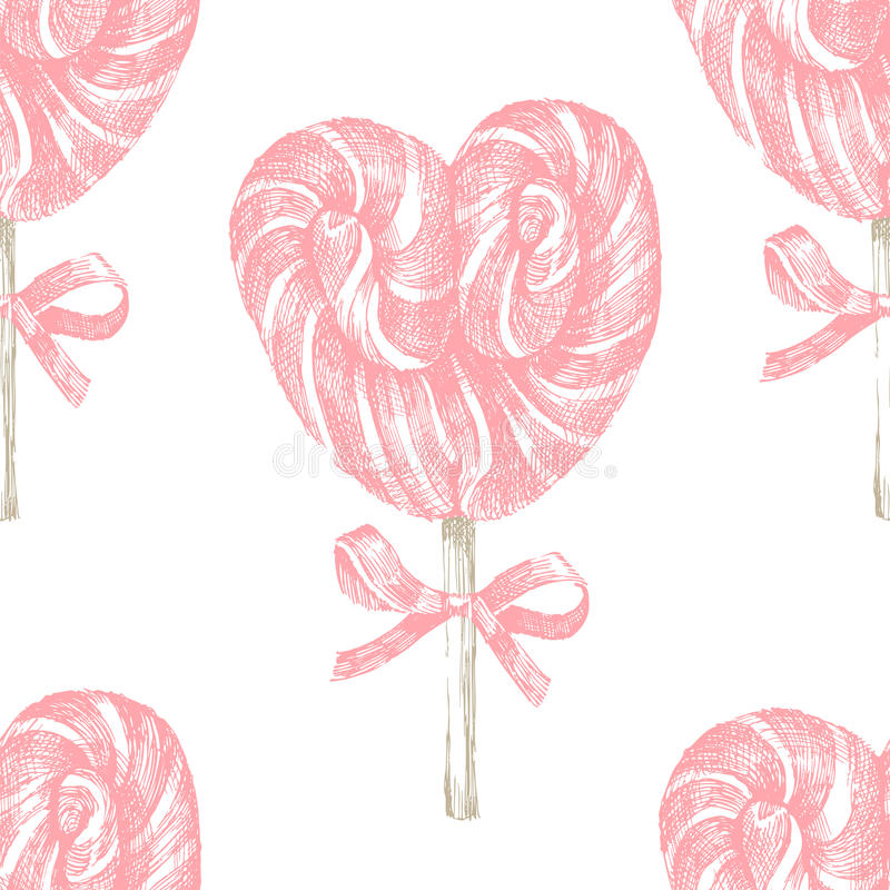 Hand drawn lollipop seamless. Hand drawn pink lollipop heart seamless royalty free illustration