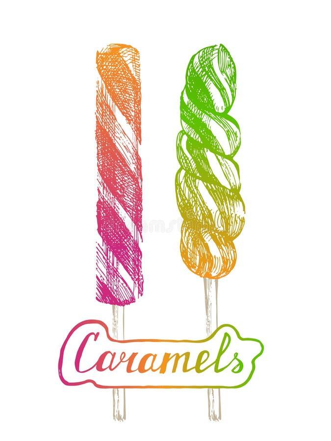 Hand drawn lollipops. 2 bright hand drawn lollipops royalty free illustration