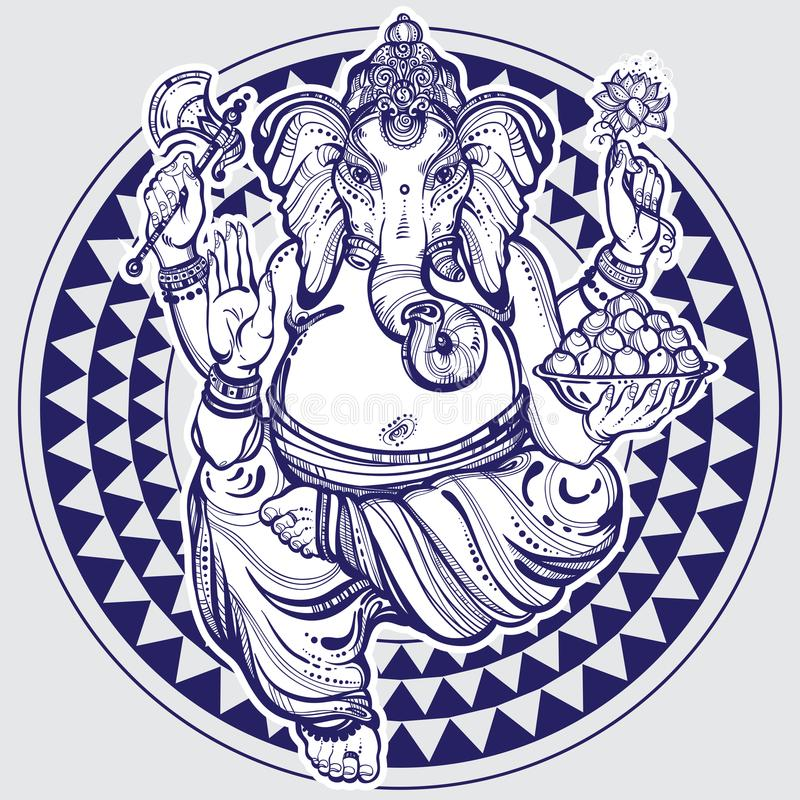 Hand drawn Lord Ganesha over tribal geometric pattern. Highly detailed beautiful vector illustration isolated. Psychedelic. royalty free stock photo