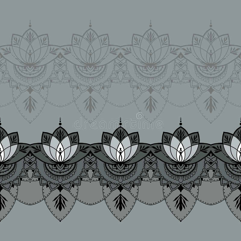 Hand-drawn lotus in east style royalty free illustration