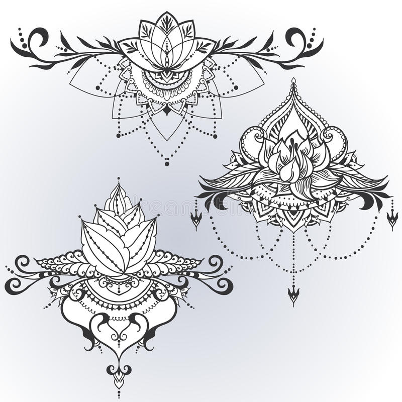Hand-drawn lotus in east style vector illustration