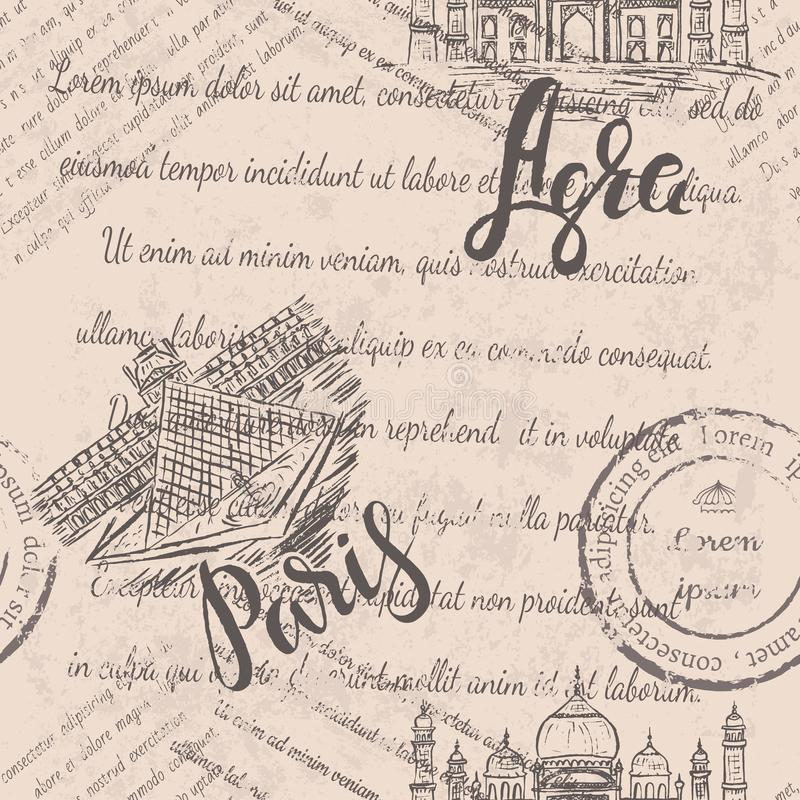 Hand drawn the Louvre, lettering Paris, Agra label with hand drawn the Taj Mahal, lettering Agra, faded text on beige background vector illustration