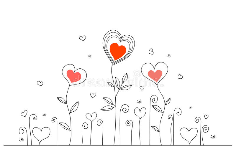 Hand-drawn love card royalty free illustration