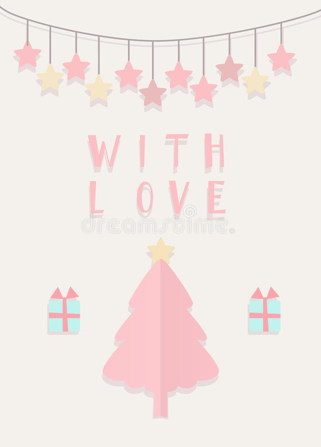 Hand drawn with love card executed in a cut paper style royalty free stock photos