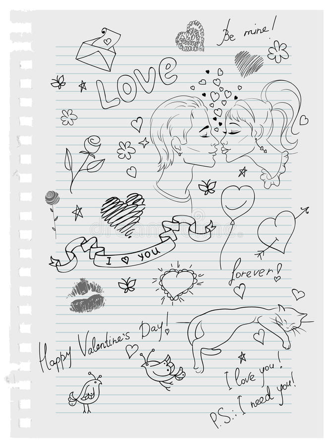 Download Hand-drawn love doodles stock vector. Image of flower - 18299631