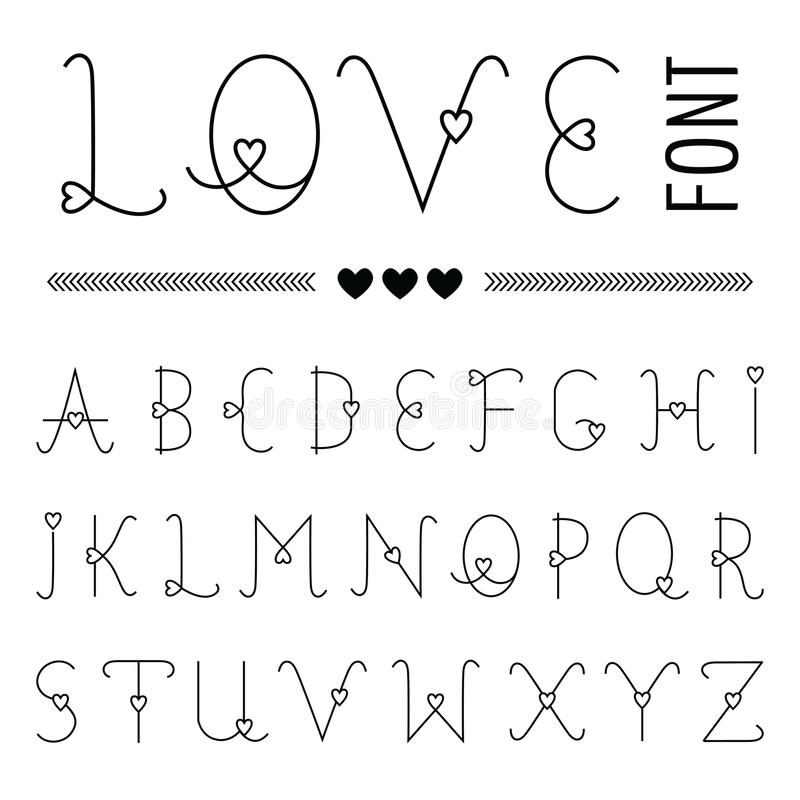 Hand drawn Love Font royalty free illustration