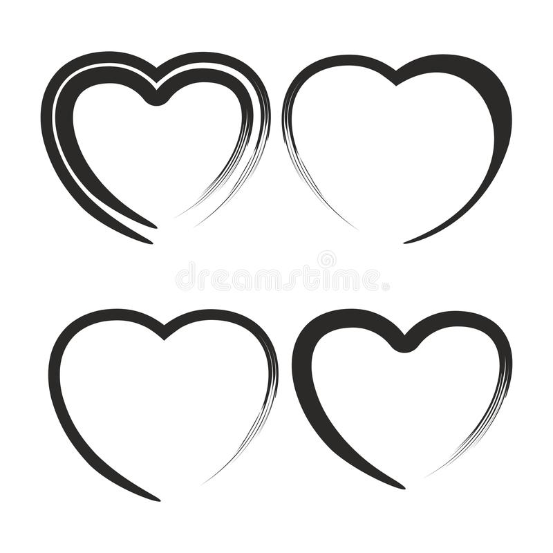 Heart handdraw set stock illustration