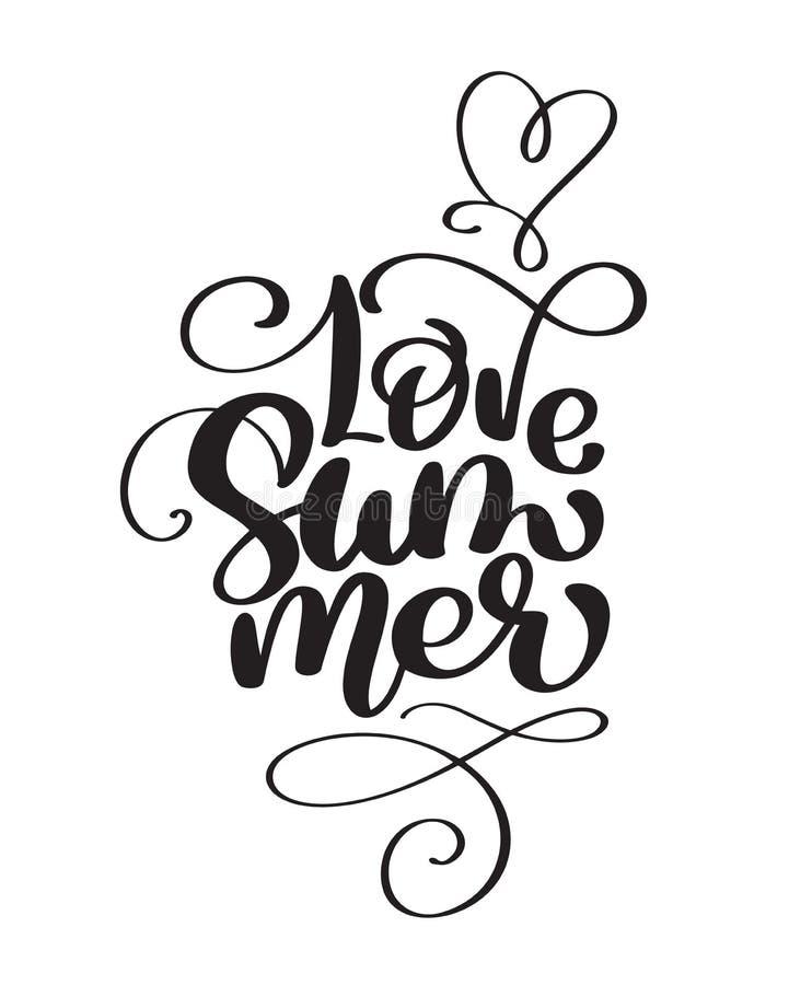 Hand drawn Love Summer lettering vector logo illusrtation, Modern Calligraphy lettering on white. Vector illustration stock illustration