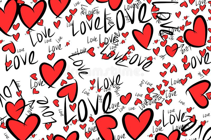 Hand drawn love for valentine day, celebrations or anniversary illustrations background. Digital, web, concept & template. Hand drawn love for valentine day vector illustration