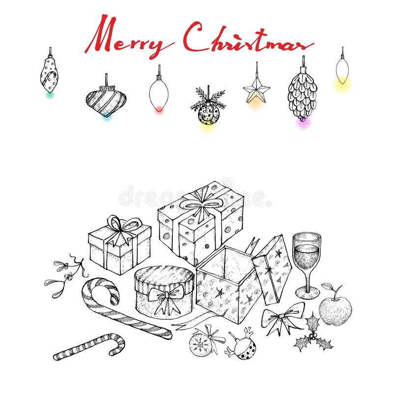 Hand Drawn of Lovely Christmas Ornaments and Gifts. Illustration Hand Drawn Sketch of Various Style of Lovely Christmas Ornaments and Gift Boxes, Sign For Xmas royalty free illustration