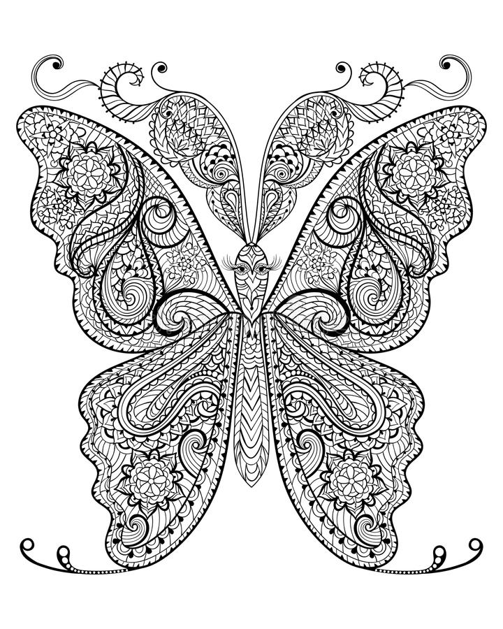 Hand drawn magic butterfly for adult anti stress Coloring Page. With high details on white background, illustration in zentangle style. Vector monochrome sketch royalty free illustration