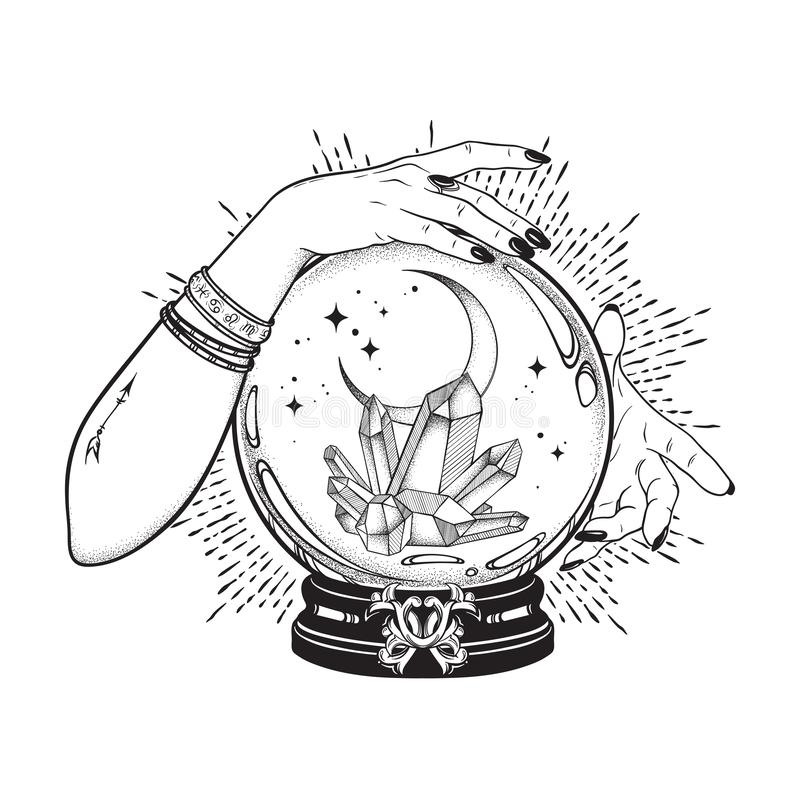 Hand drawn magic crystal ball with gems and crescent moon in hands of fortune teller line art and dot work. Boho chic tattoo, post vector illustration