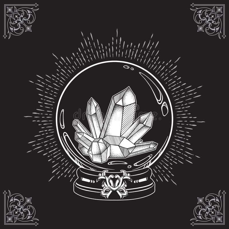 Hand drawn magic crystal ball with gems line art and dot work. Boho chic tattoo, poster or altar veil print design vector illustra. Tion vector illustration