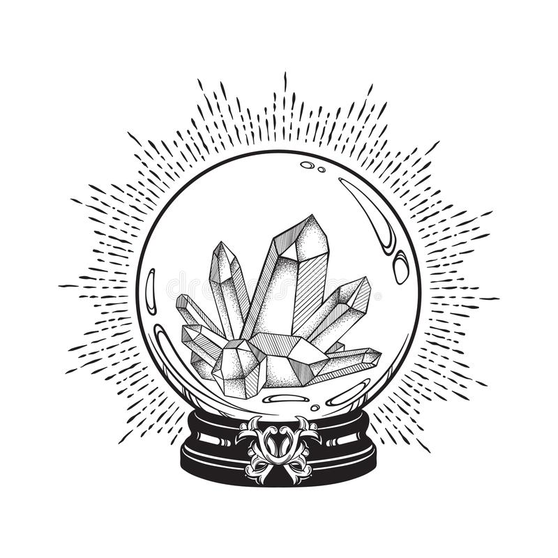 Hand drawn magic crystal ball with gems line art and dot work. Boho chic tattoo, poster or altar veil print design vector illustra. Tion royalty free illustration