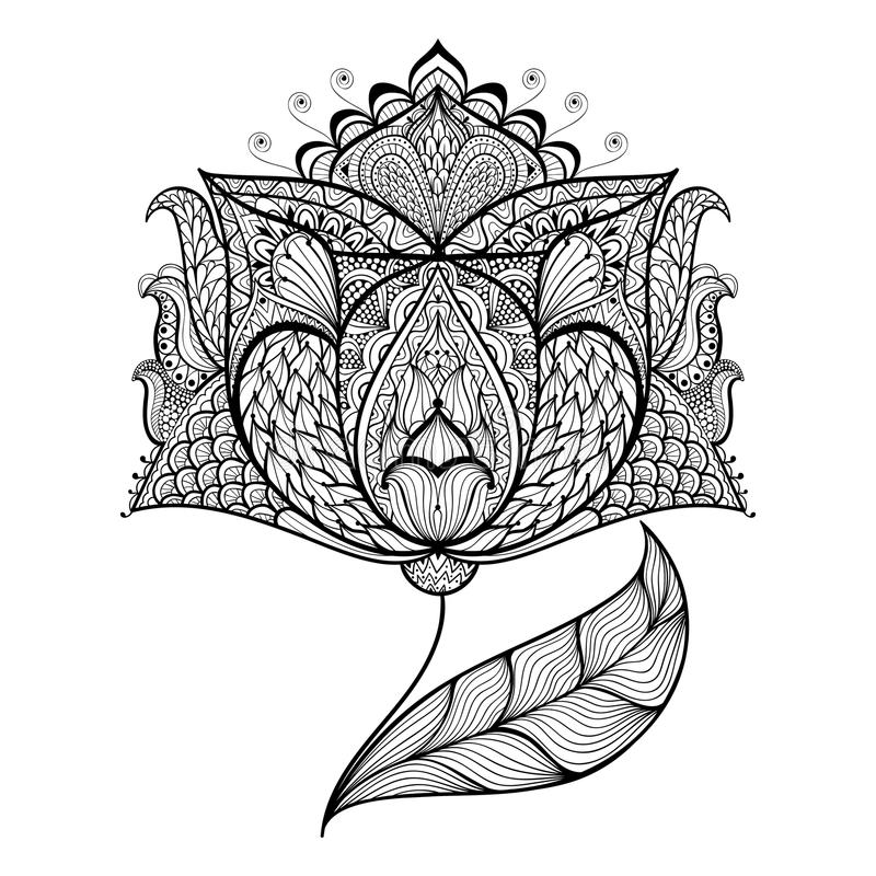 Hand drawn magic flower for antistress Coloring Page stock illustration