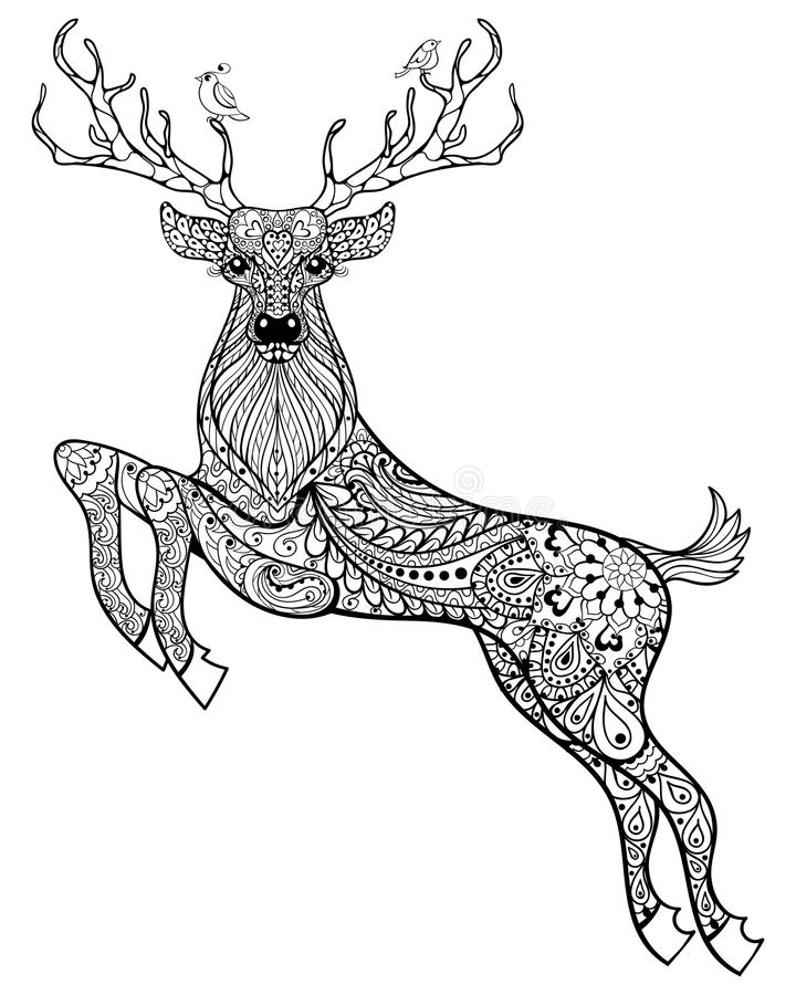 Hand drawn magic horned deer with birds for adult anti stress Co. Loring Page with high details isolated on white background, illustration in zentangle style vector illustration